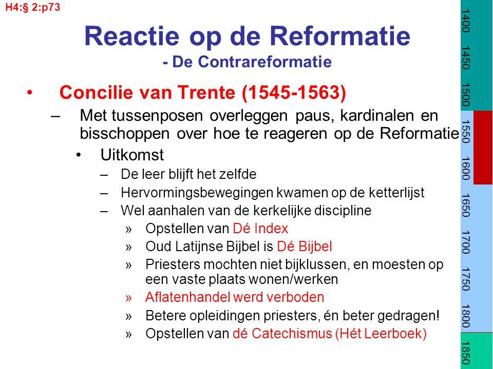Reactie op de Reformatie - De Contrareformatie Concilie van Trente (1545-1563) –Met tussenposen overleggen paus, kardinalen en bisschoppen over hoe te