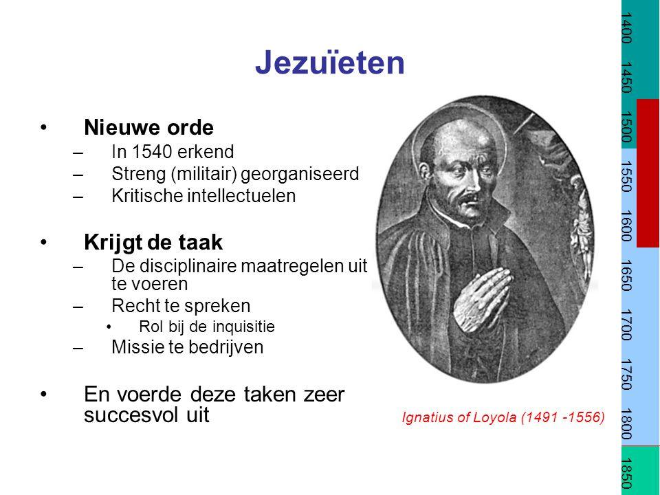 Jezuïeten Nieuwe orde –In 1540 erkend –Streng (militair) georganiseerd –Kritische intellectuelen Krijgt de taak –De disciplinaire maatregelen uit te v