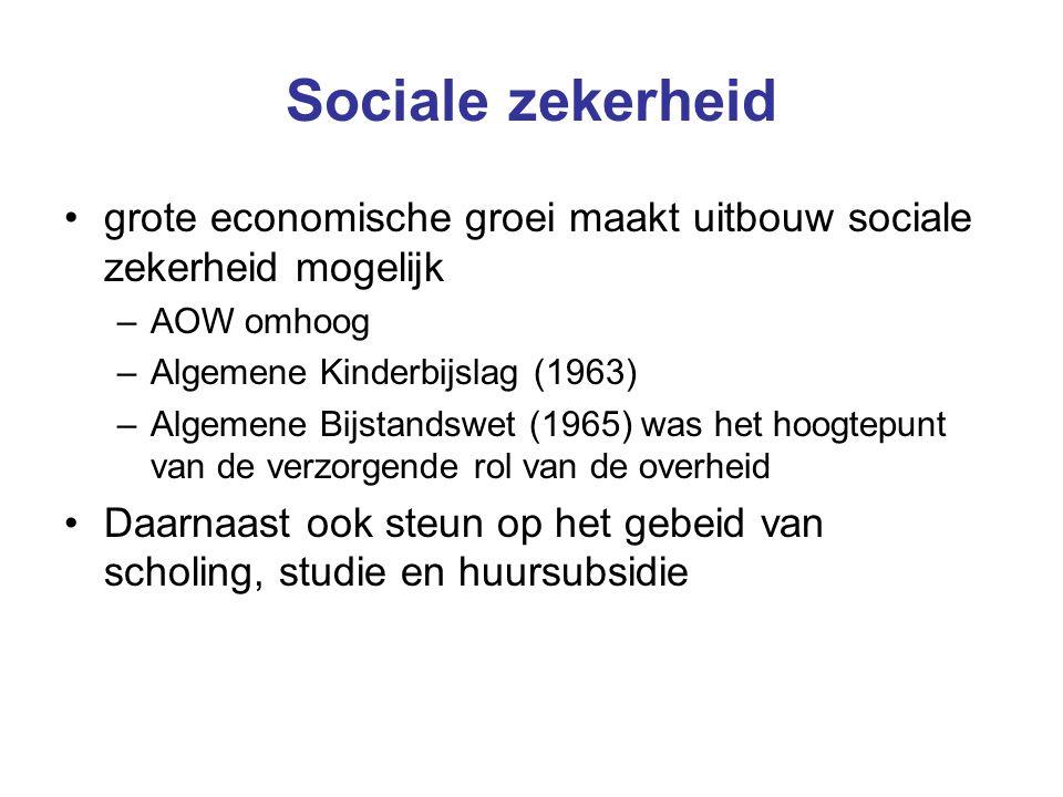 Sociale zekerheid grote economische groei maakt uitbouw sociale zekerheid mogelijk –AOW omhoog –Algemene Kinderbijslag (1963) –Algemene Bijstandswet (1965) was het hoogtepunt van de verzorgende rol van de overheid Daarnaast ook steun op het gebeid van scholing, studie en huursubsidie