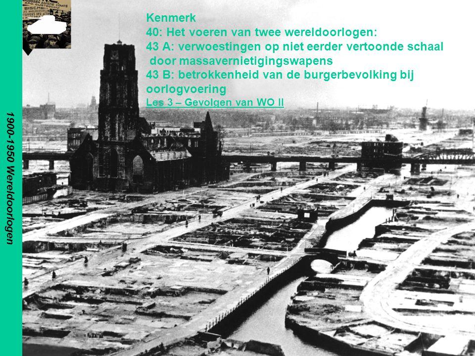 Gevolgen WO II Aangaande mensen 40 miljoen doden –Burgers/militairen 50/50 Veel gewonden –Fysiek en psychisch Opsporing en Berechting oorlogsmisdadigers –Nazi's –Collaborateurs –Maar, wie is fout en wie goed.