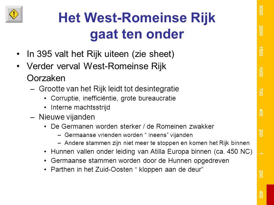 Het West-Romeinse Rijk gaat ten onder In 395 valt het Rijk uiteen (zie sheet) Verder verval West-Romeinse Rijk Oorzaken –Grootte van het Rijk leidt to