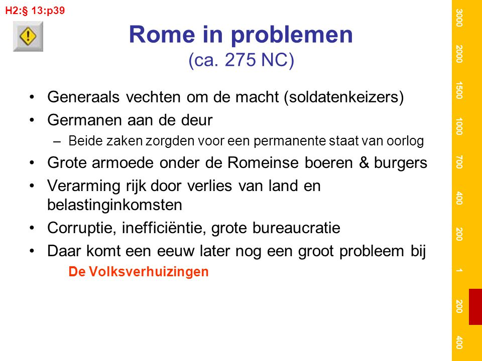 Rome in problemen (ca. 275 NC) Generaals vechten om de macht (soldatenkeizers) Germanen aan de deur –Beide zaken zorgden voor een permanente staat van