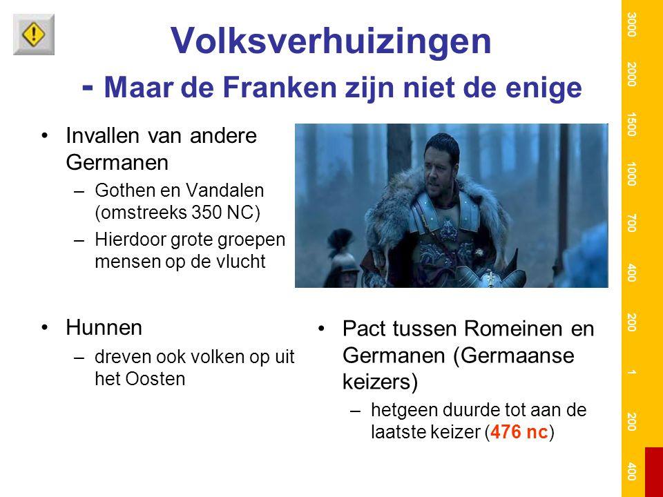 Volksverhuizingen - Maar de Franken zijn niet de enige Invallen van andere Germanen –Gothen en Vandalen (omstreeks 350 NC) –Hierdoor grote groepen men