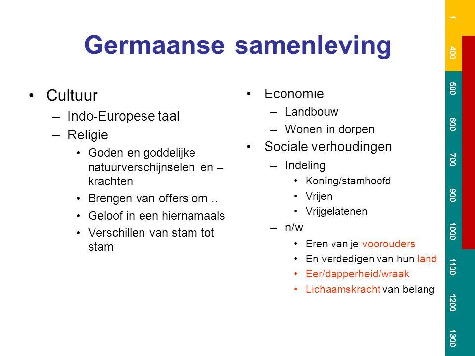 Germaanse samenleving Cultuur –Indo-Europese taal –Religie Goden en goddelijke natuurverschijnselen en – krachten Brengen van offers om..
