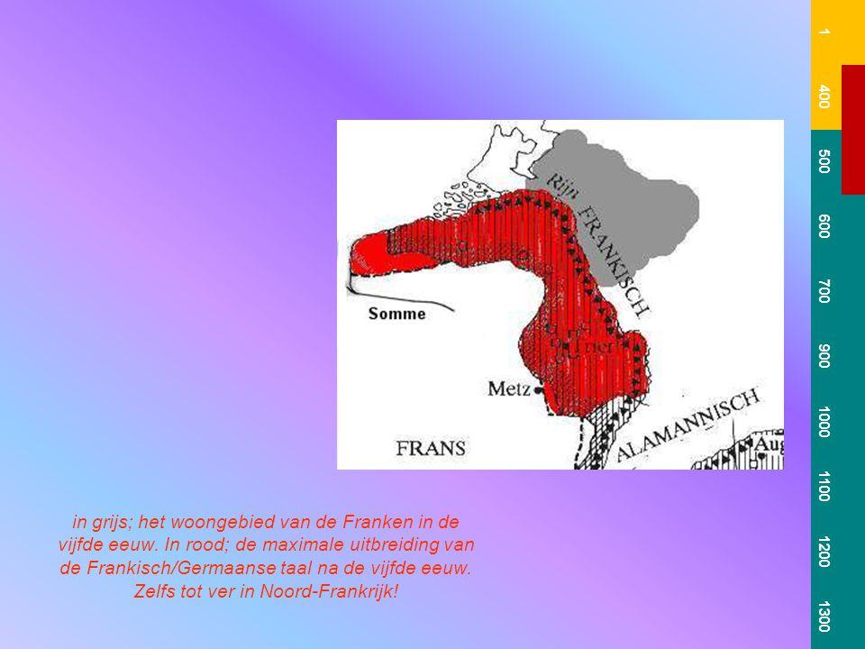 in grijs; het woongebied van de Franken in de vijfde eeuw.