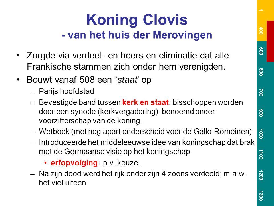 Rijk der Merovingen 1 400 500 600 700 900 1000 1100 1200 1300 Na Clovis' dood ontstaat er een periode van 250 jaar van verval en oorlogen, totdat de Karolingen de macht grijpen.
