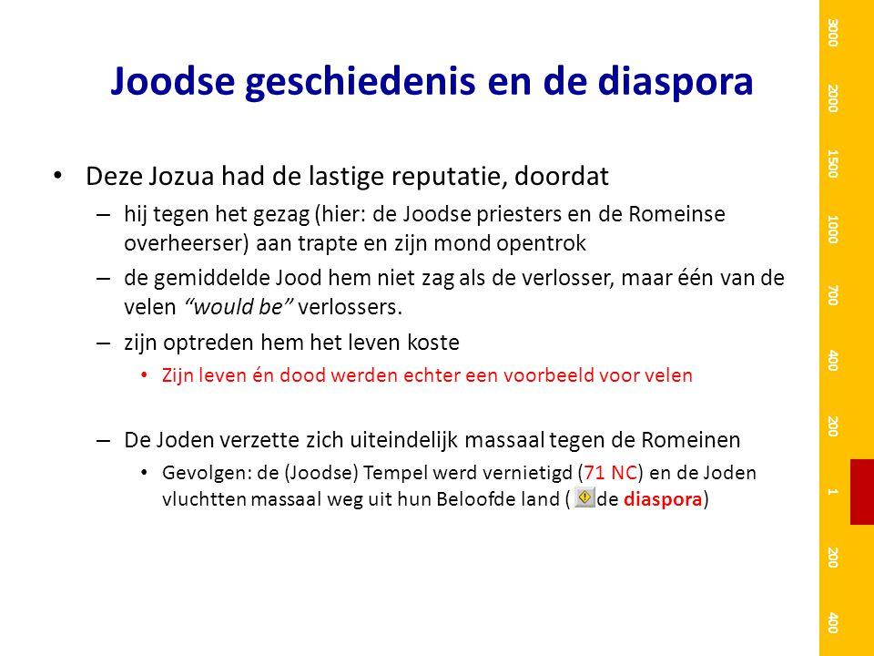 Joodse geschiedenis en de diaspora Deze Jozua had de lastige reputatie, doordat – hij tegen het gezag (hier: de Joodse priesters en de Romeinse overhe