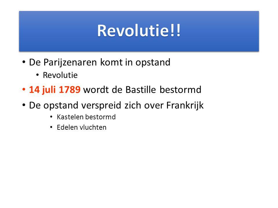 De Parijzenaren komt in opstand Revolutie 14 juli 1789 wordt de Bastille bestormd De opstand verspreid zich over Frankrijk Kastelen bestormd Edelen vl