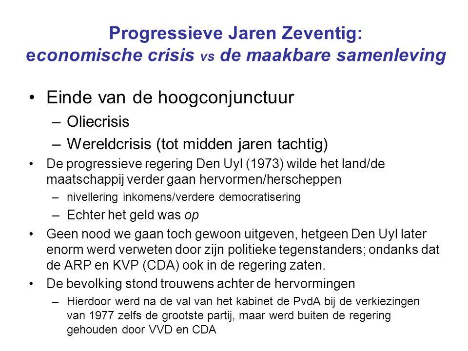 Progressieve Jaren Zeventig: economische crisis vs de maakbare samenleving Einde van de hoogconjunctuur –Oliecrisis –Wereldcrisis (tot midden jaren ta