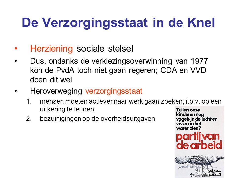 De Verzorgingsstaat in de Knel Herziening sociale stelsel Dus, ondanks de verkiezingsoverwinning van 1977 kon de PvdA toch niet gaan regeren; CDA en VVD doen dit wel Heroverweging verzorgingsstaat 1.mensen moeten actiever naar werk gaan zoeken; i.p.v.