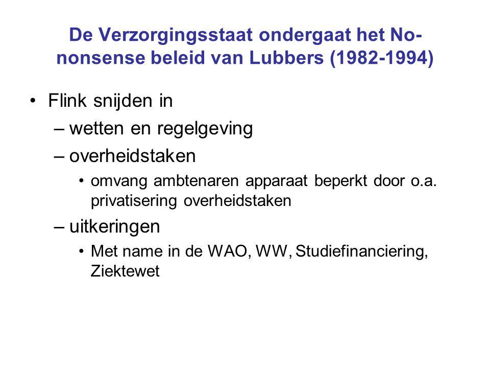 De Verzorgingsstaat ondergaat het No- nonsense beleid van Lubbers (1982-1994) Flink snijden in –wetten en regelgeving –overheidstaken omvang ambtenaren apparaat beperkt door o.a.