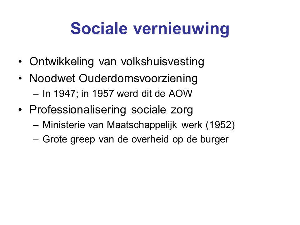 Sociale vernieuwing Ontwikkeling van volkshuisvesting Noodwet Ouderdomsvoorziening –In 1947; in 1957 werd dit de AOW Professionalisering sociale zorg –Ministerie van Maatschappelijk werk (1952) –Grote greep van de overheid op de burger