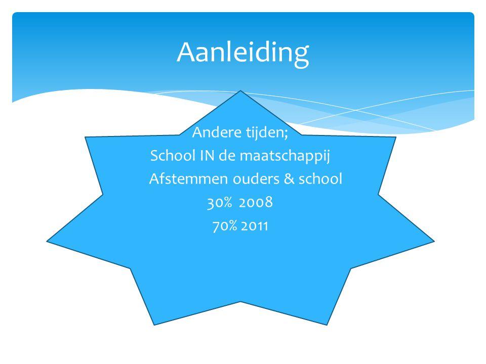 Andere tijden; School IN de maatschappij Afstemmen ouders & school 30% 2008 70% 2011 Aanleiding