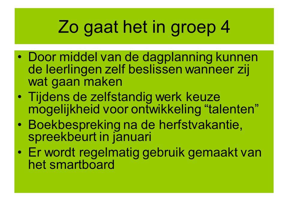 Zo gaat het in groep 4 Door middel van de dagplanning kunnen de leerlingen zelf beslissen wanneer zij wat gaan maken Tijdens de zelfstandig werk keuze
