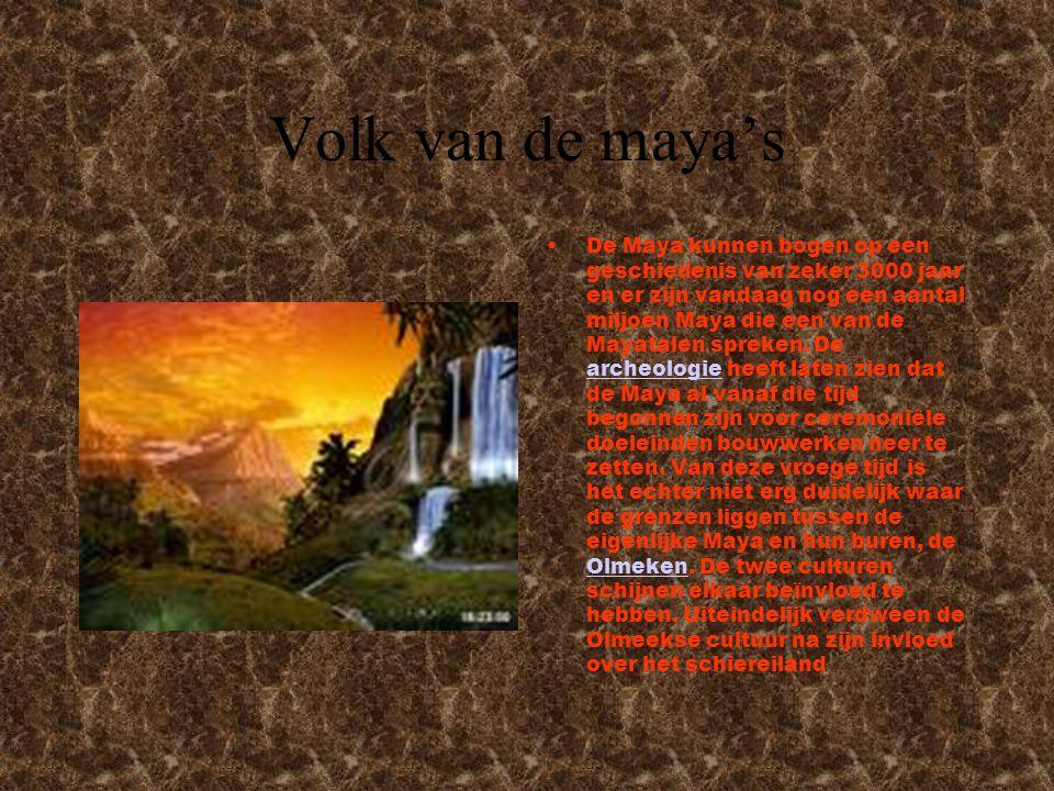 Volk van de maya's De Maya kunnen bogen op een geschiedenis van zeker 3000 jaar en er zijn vandaag nog een aantal miljoen Maya die een van de Mayatalen spreken.