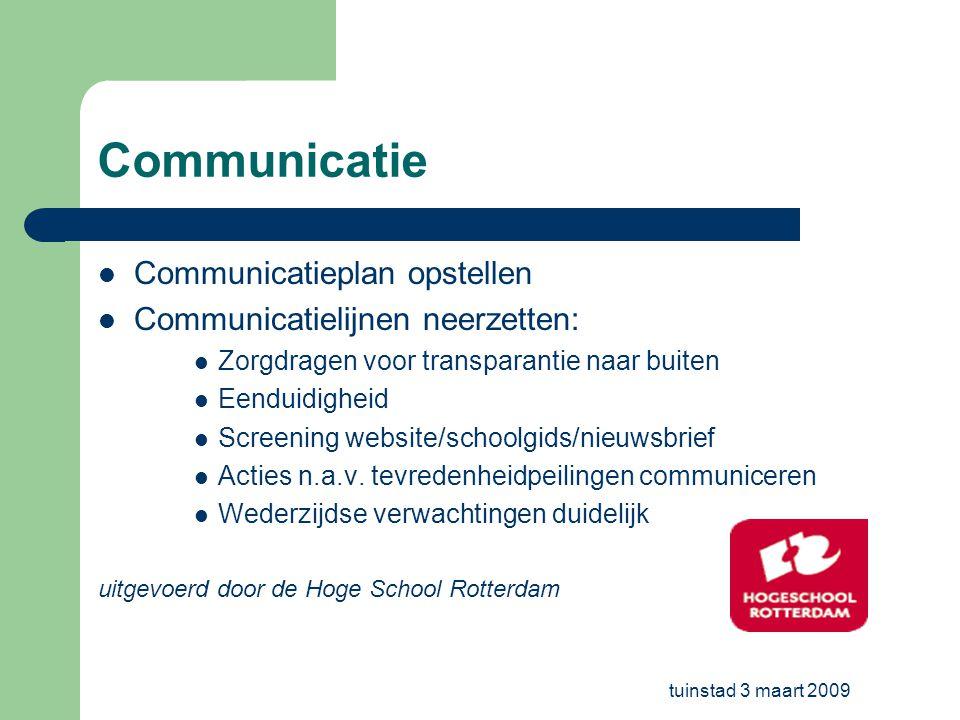 tuinstad 3 maart 2009 Communicatie Communicatieplan opstellen Communicatielijnen neerzetten: Zorgdragen voor transparantie naar buiten Eenduidigheid S