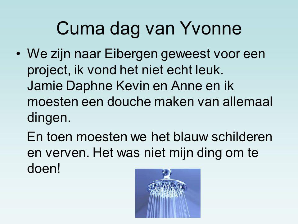 Cuma dag van Yvonne We zijn naar Eibergen geweest voor een project, ik vond het niet echt leuk.