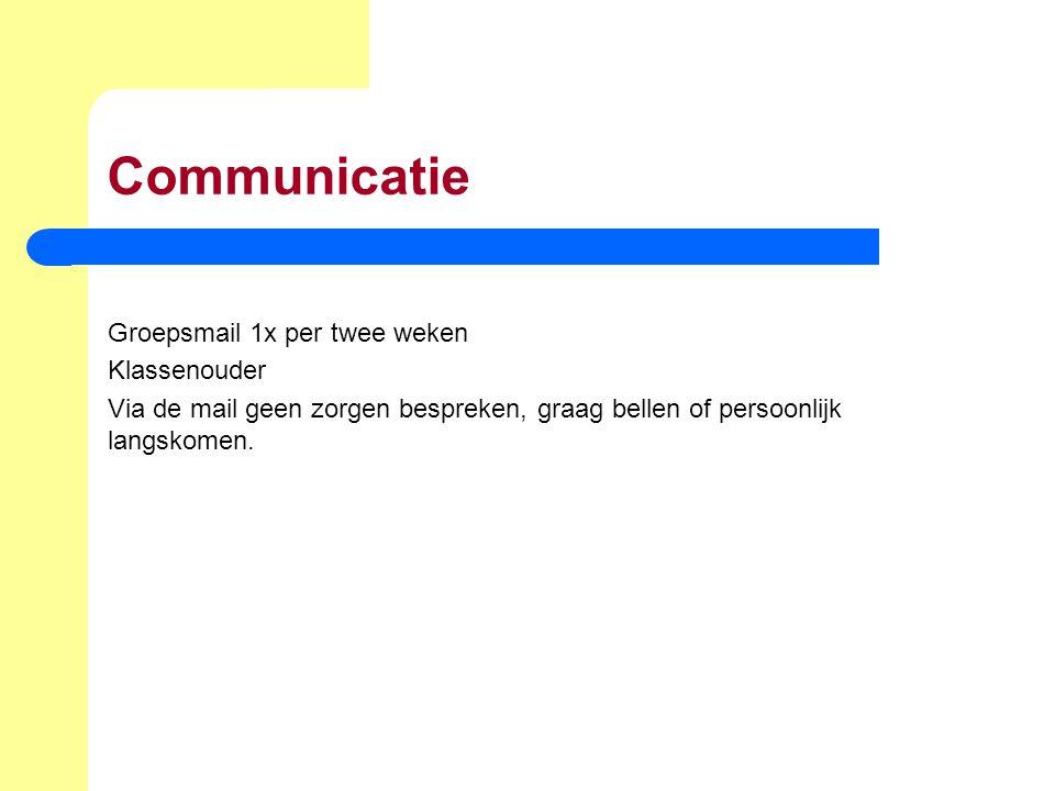 Communicatie Groepsmail 1x per twee weken Klassenouder Via de mail geen zorgen bespreken, graag bellen of persoonlijk langskomen.