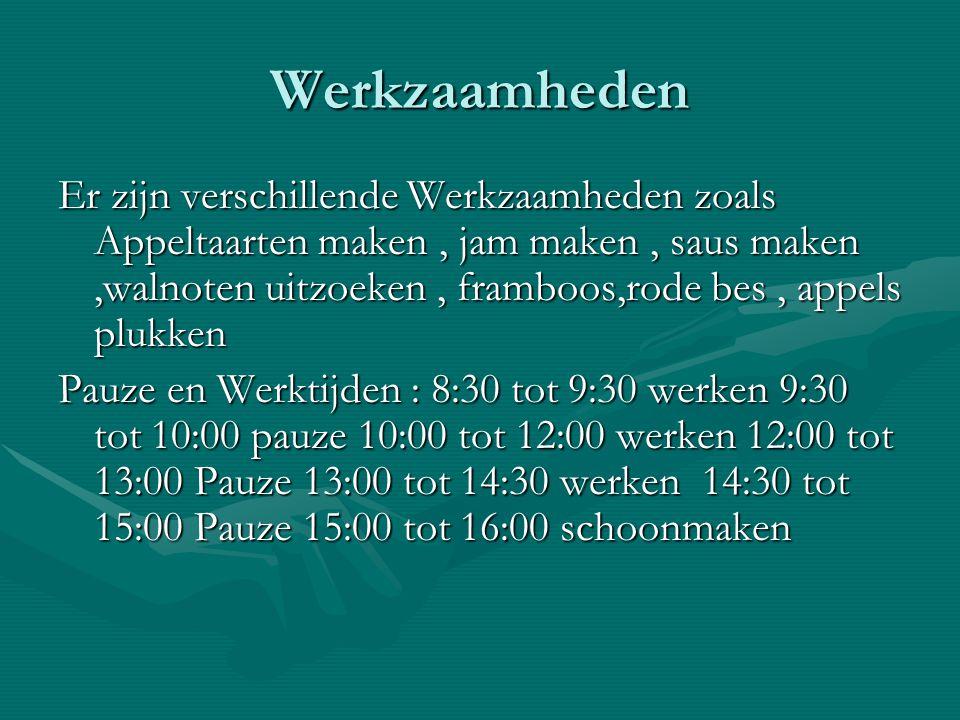 Werkzaamheden Er zijn verschillende Werkzaamheden zoals Appeltaarten maken, jam maken, saus maken,walnoten uitzoeken, framboos,rode bes, appels plukken Pauze en Werktijden : 8:30 tot 9:30 werken 9:30 tot 10:00 pauze 10:00 tot 12:00 werken 12:00 tot 13:00 Pauze 13:00 tot 14:30 werken 14:30 tot 15:00 Pauze 15:00 tot 16:00 schoonmaken