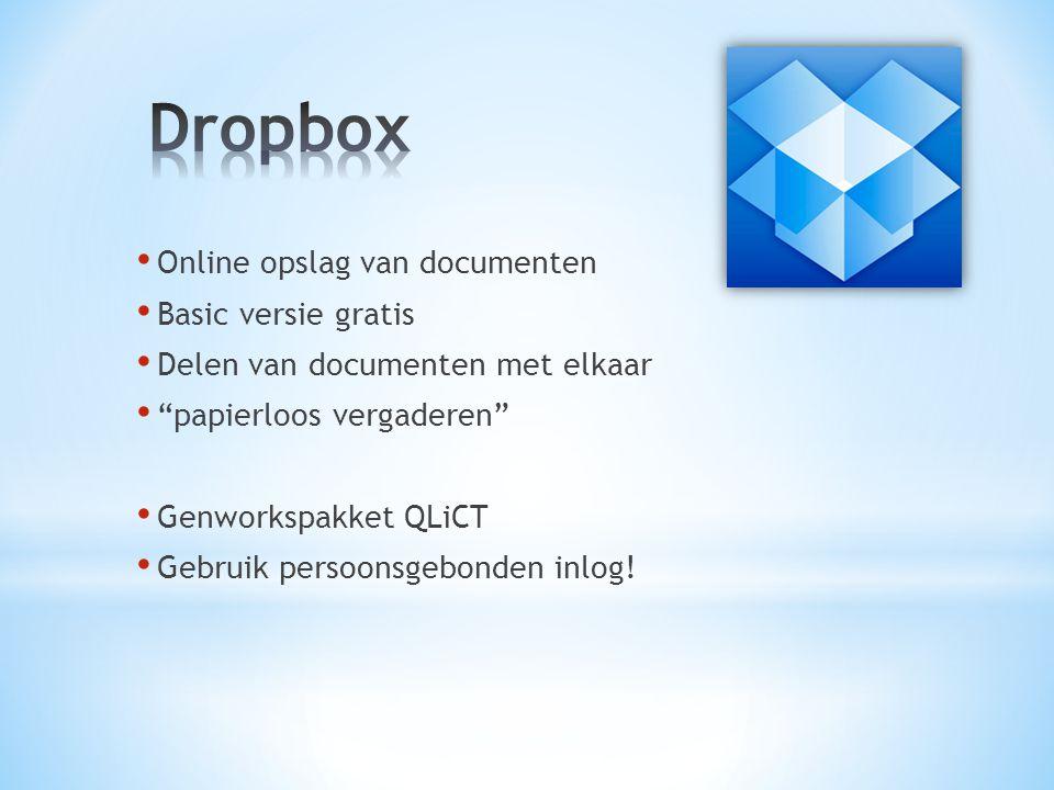 Online opslag van documenten Basic versie gratis Delen van documenten met elkaar papierloos vergaderen Genworkspakket QLiCT Gebruik persoonsgebonden inlog!