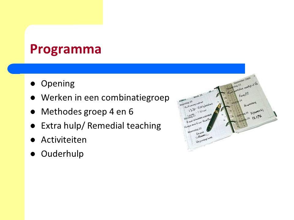 Programma Opening Werken in een combinatiegroep Methodes groep 4 en 6 Extra hulp/ Remedial teaching Activiteiten Ouderhulp