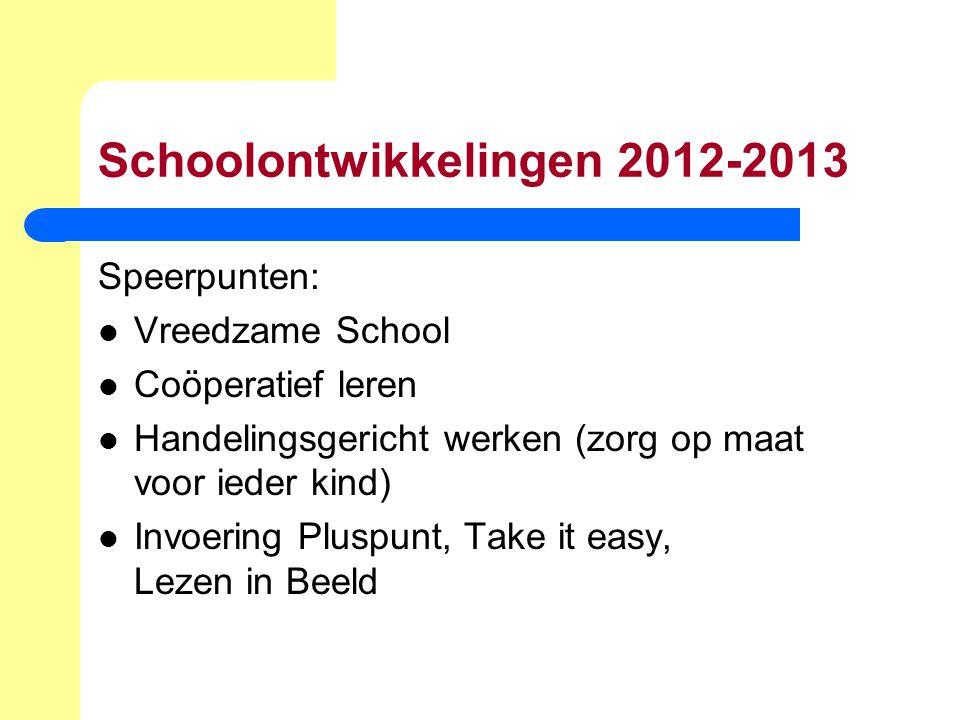 Schoolontwikkelingen 2012-2013 Speerpunten: Vreedzame School Coöperatief leren Handelingsgericht werken (zorg op maat voor ieder kind) Invoering Plusp