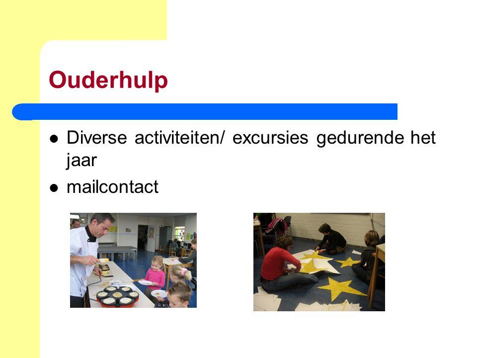 Ouderhulp Diverse activiteiten/ excursies gedurende het jaar mailcontact