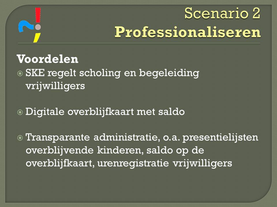 Voordelen  SKE regelt scholing en begeleiding vrijwilligers  Digitale overblijfkaart met saldo  Transparante administratie, o.a. presentielijsten o