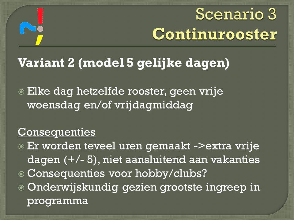 Scenario 3 Continurooster Variant 2 (model 5 gelijke dagen)  Elke dag hetzelfde rooster, geen vrije woensdag en/of vrijdagmiddag Consequenties  Er w