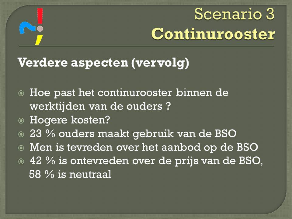 Scenario 3 Continurooster Verdere aspecten (vervolg)  Hoe past het continurooster binnen de werktijden van de ouders ?  Hogere kosten?  23 % ouders