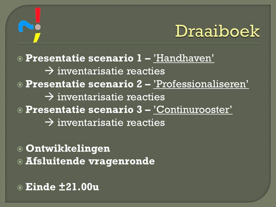  Presentatie scenario 1 – 'Handhaven'  inventarisatie reacties  Presentatie scenario 2 – 'Professionaliseren'  inventarisatie reacties  Presentat