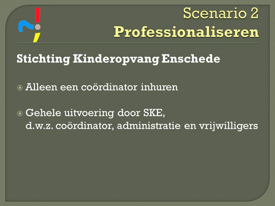 Stichting Kinderopvang Enschede  Alleen een coördinator inhuren  Gehele uitvoering door SKE, d.w.z. coördinator, administratie en vrijwilligers