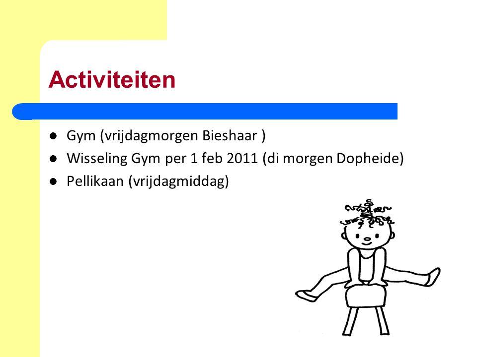 Activiteiten Gym (vrijdagmorgen Bieshaar ) Wisseling Gym per 1 feb 2011 (di morgen Dopheide) Pellikaan (vrijdagmiddag)