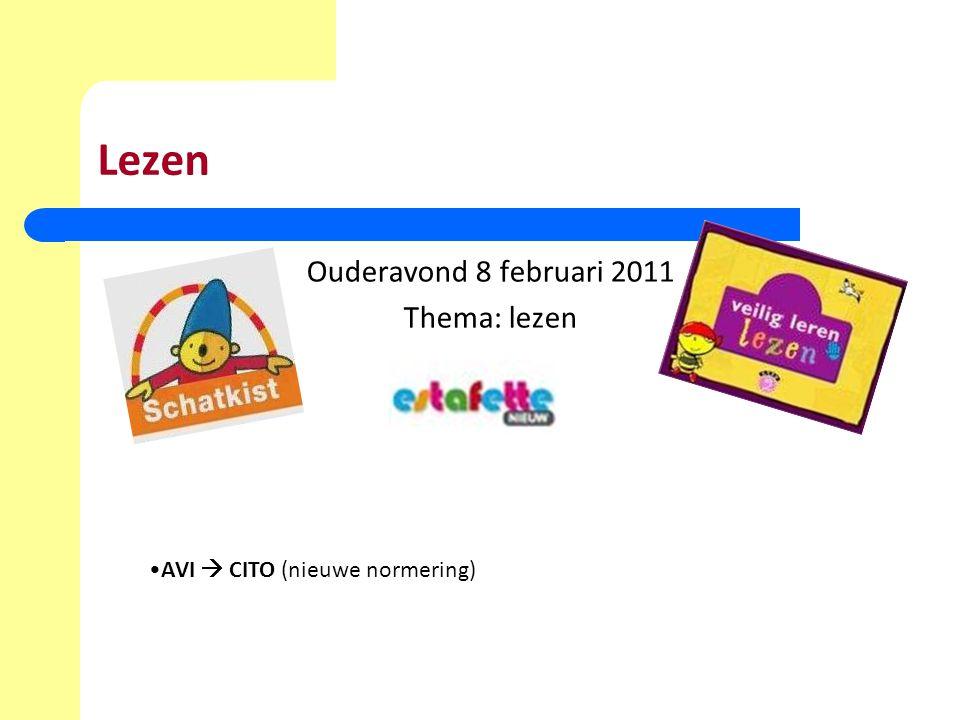 Lezen Ouderavond 8 februari 2011 Thema: lezen AVI  CITO (nieuwe normering)