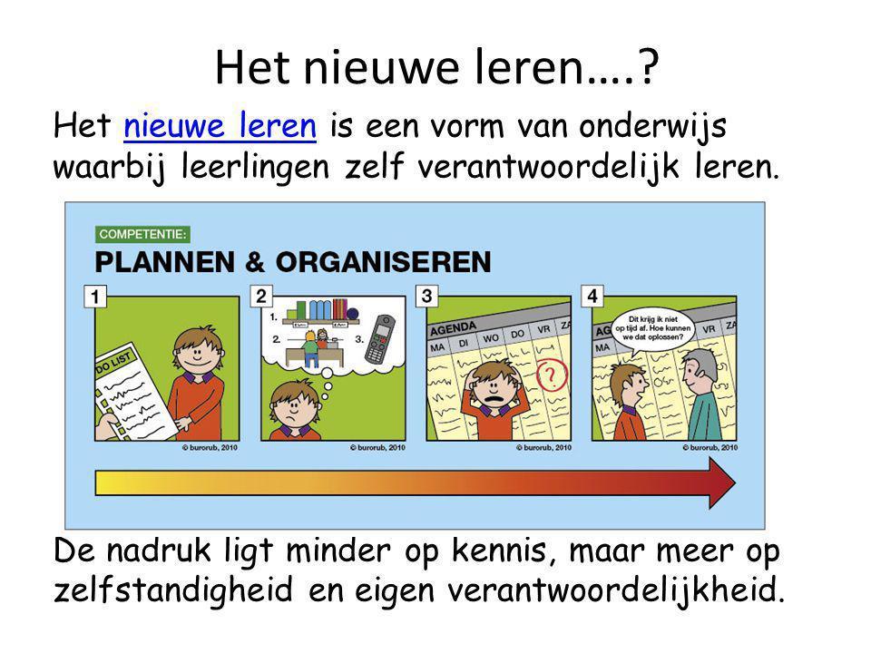 Het nieuwe leren….? Het nieuwe leren is een vorm van onderwijs waarbij leerlingen zelf verantwoordelijk leren.nieuwe leren De nadruk ligt minder op ke