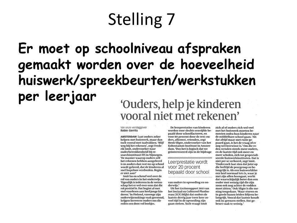 Stelling 7 Er moet op schoolniveau afspraken gemaakt worden over de hoeveelheid huiswerk/spreekbeurten/werkstukken per leerjaar