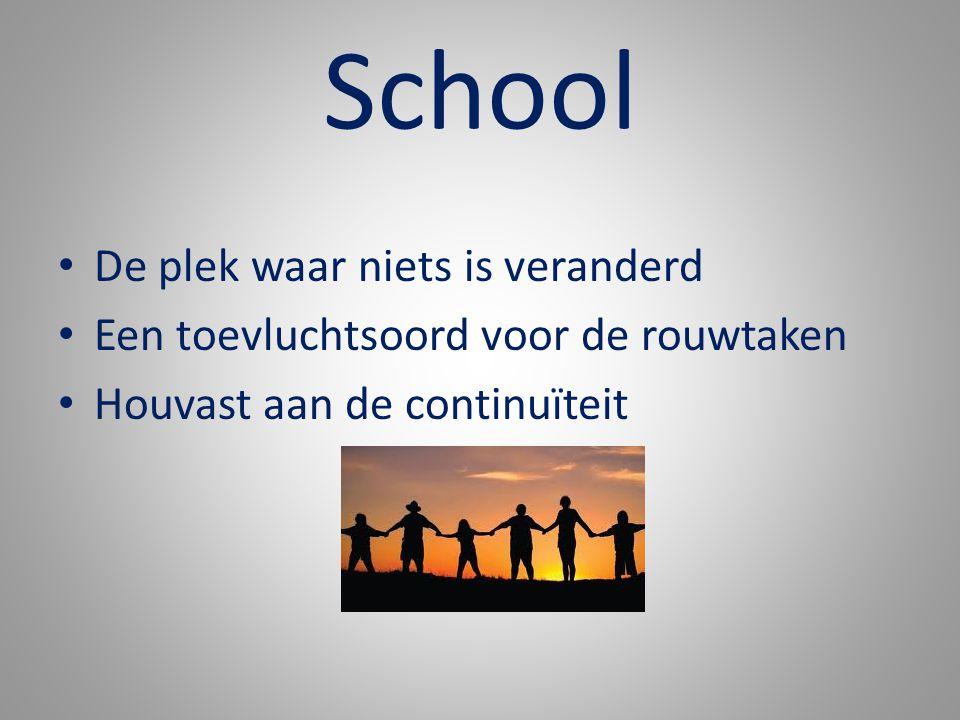 School De plek waar niets is veranderd Een toevluchtsoord voor de rouwtaken Houvast aan de continuïteit