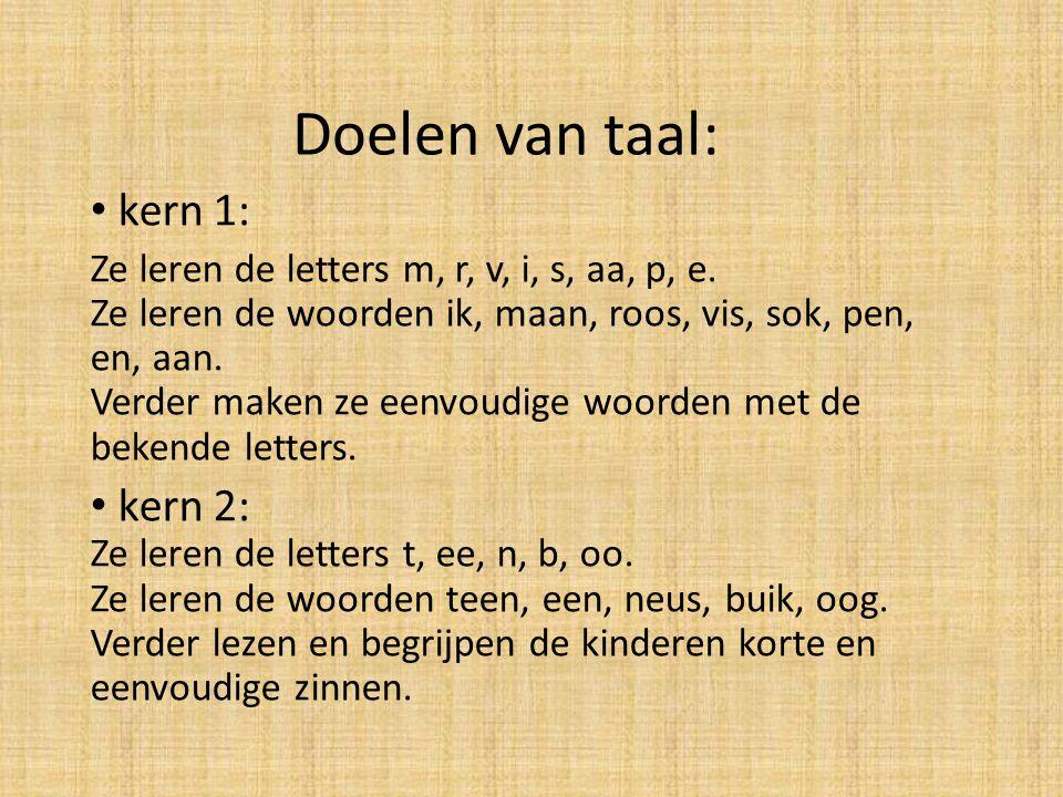 Doelen van taal: kern 1: Ze leren de letters m, r, v, i, s, aa, p, e. Ze leren de woorden ik, maan, roos, vis, sok, pen, en, aan. Verder maken ze eenv