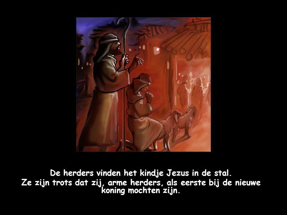 """Een engel zegt tegen de herders: """"Ga naar Bethlehem. Daar is de nieuwe koning geboren. Jullie zullen hem vinden in een stal. Hij ligt in een voerbak v"""