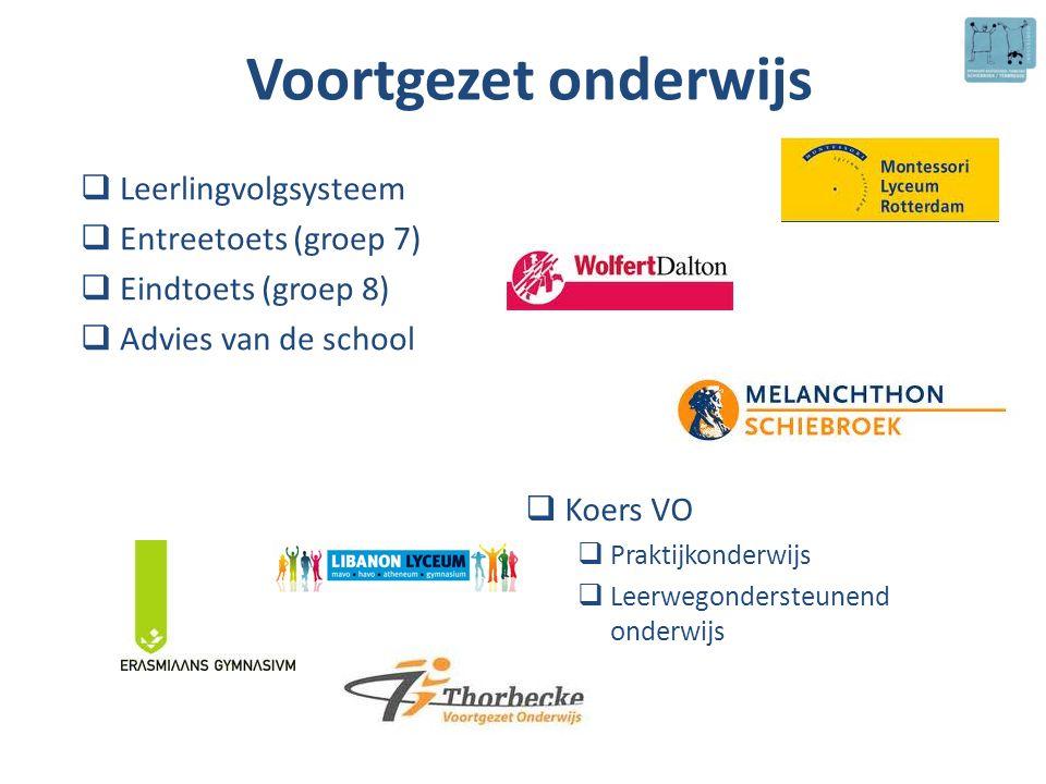 Voortgezet onderwijs  Leerlingvolgsysteem  Entreetoets (groep 7)  Eindtoets (groep 8)  Advies van de school  Koers VO  Praktijkonderwijs  Leerw