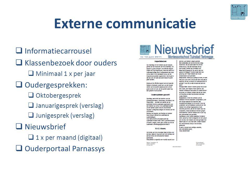 Externe communicatie  Informatiecarrousel  Klassenbezoek door ouders  Minimaal 1 x per jaar  Oudergesprekken:  Oktobergesprek  Januarigesprek (v