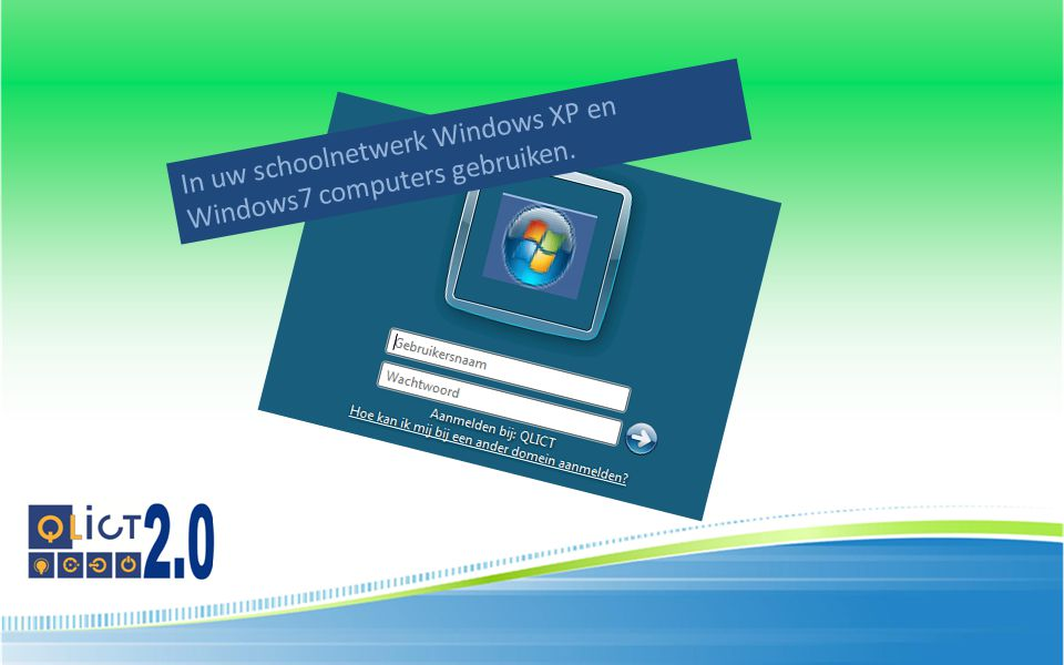 In uw schoolnetwerk Windows XP en Windows7 computers gebruiken.