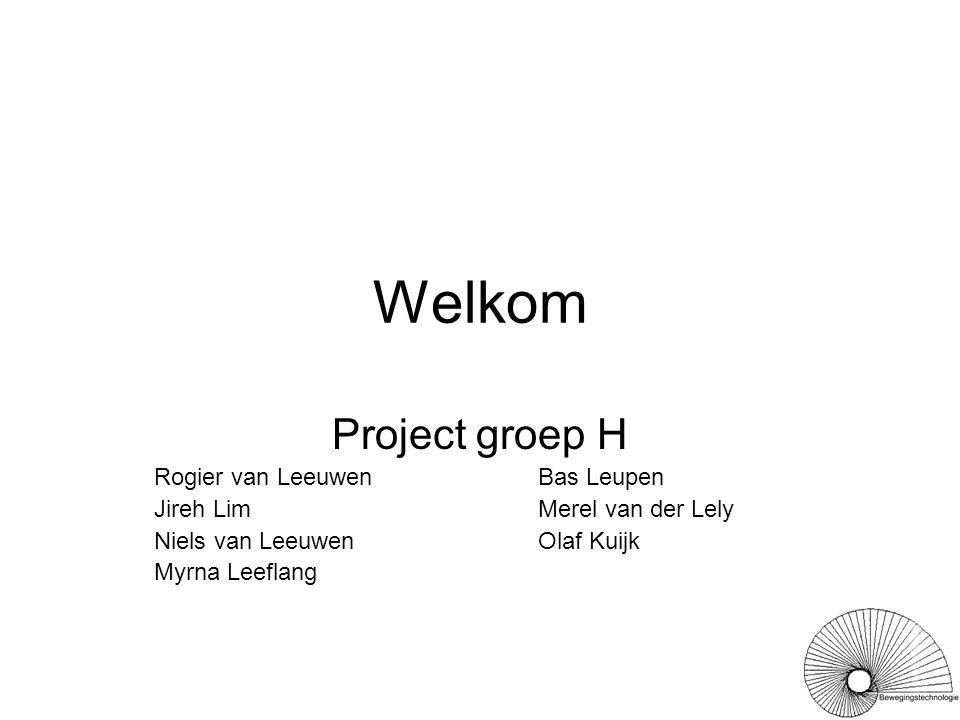 Welkom Project groep H Rogier van LeeuwenBas Leupen Jireh LimMerel van der Lely Niels van LeeuwenOlaf Kuijk Myrna Leeflang
