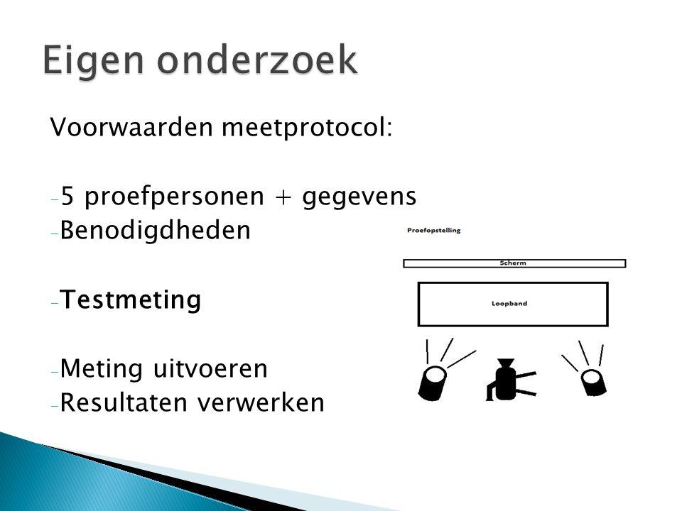 Voorwaarden meetprotocol: - 5 proefpersonen + gegevens - Benodigdheden - Testmeting - Meting uitvoeren - Resultaten verwerken
