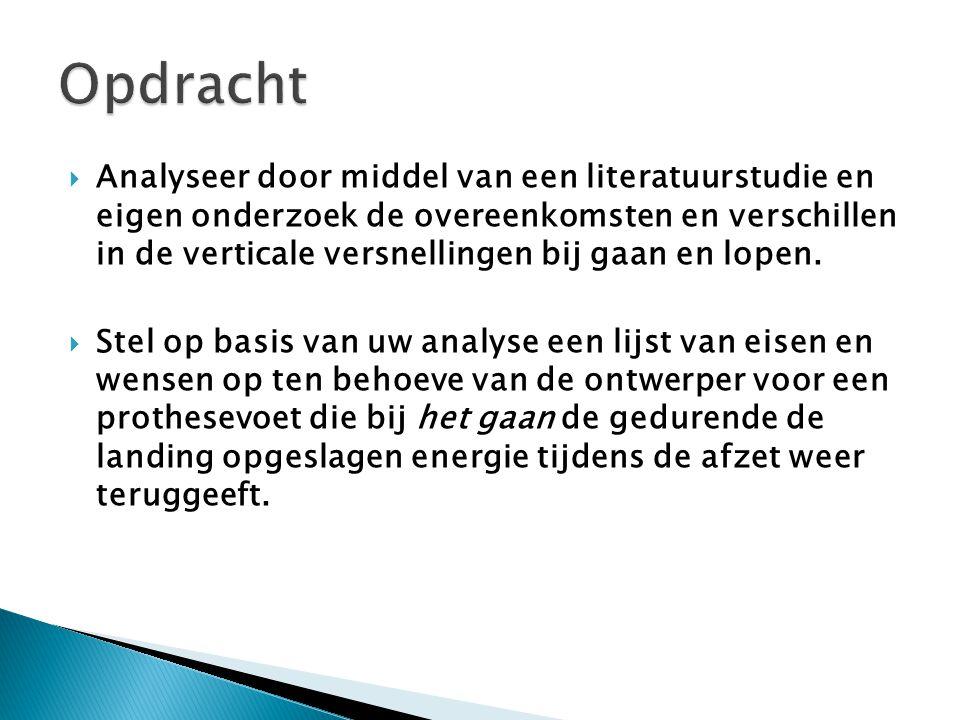  Analyseer door middel van een literatuurstudie en eigen onderzoek de overeenkomsten en verschillen in de verticale versnellingen bij gaan en lopen.