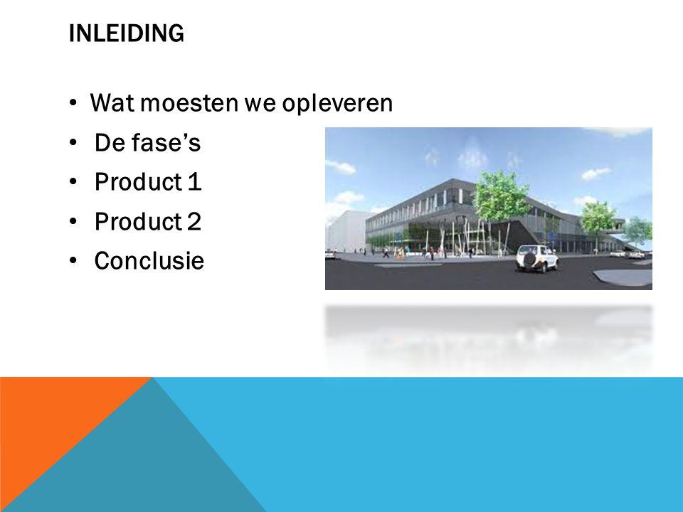 INLEIDING Wat moesten we opleveren De fase's Product 1 Product 2 Conclusie