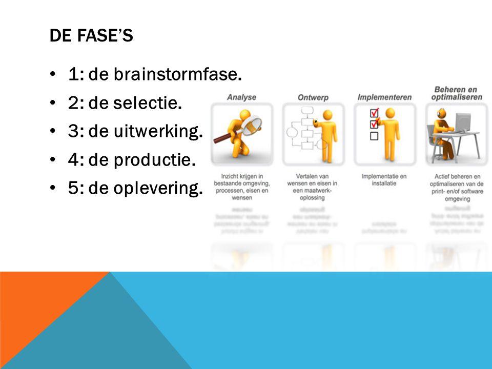 DE FASE'S 1: de brainstormfase. 2: de selectie. 3: de uitwerking. 4: de productie. 5: de oplevering.