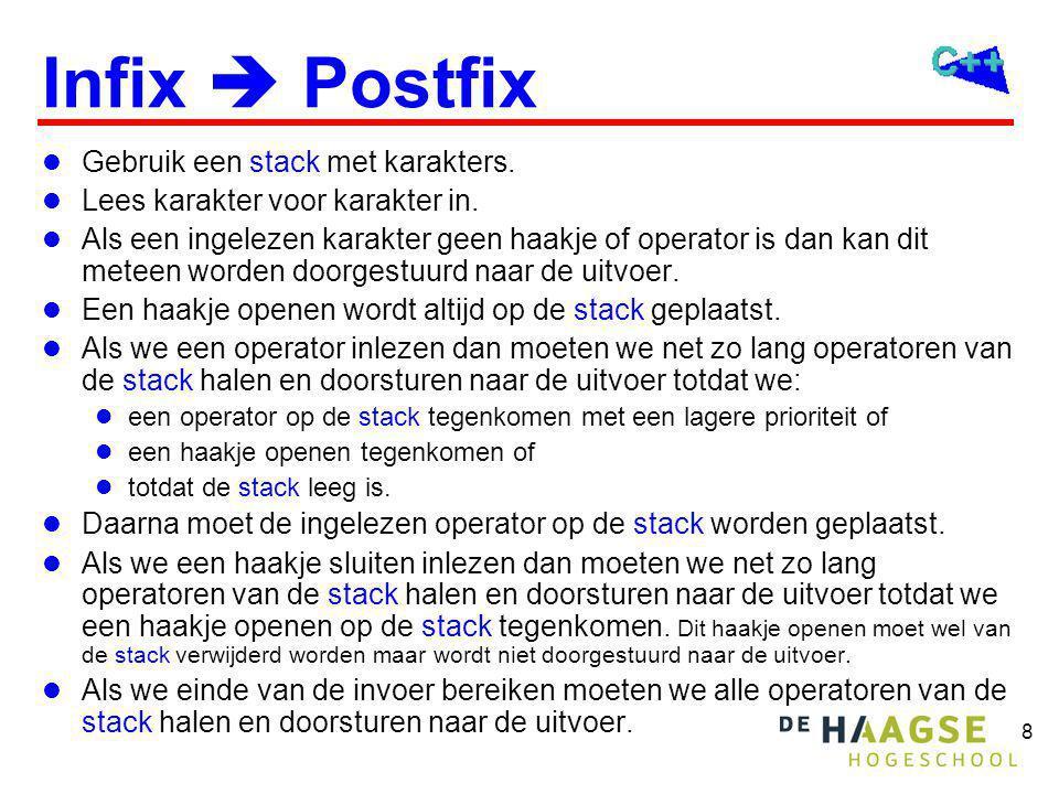 8 Infix  Postfix Gebruik een stack met karakters. Lees karakter voor karakter in. Als een ingelezen karakter geen haakje of operator is dan kan dit m