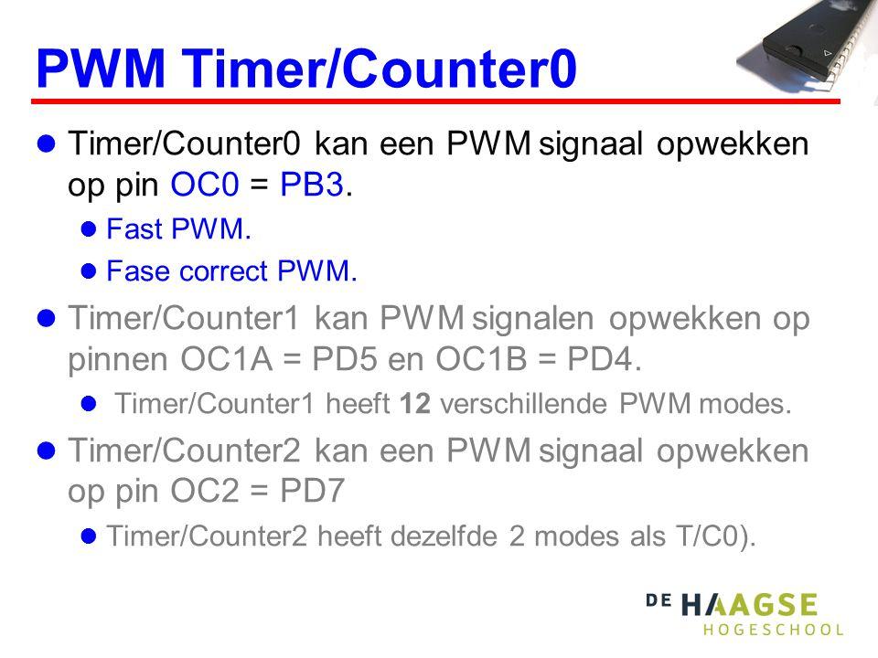 PWM Timer/Counter0 Timer/Counter0 kan een PWM signaal opwekken op pin OC0 = PB3.