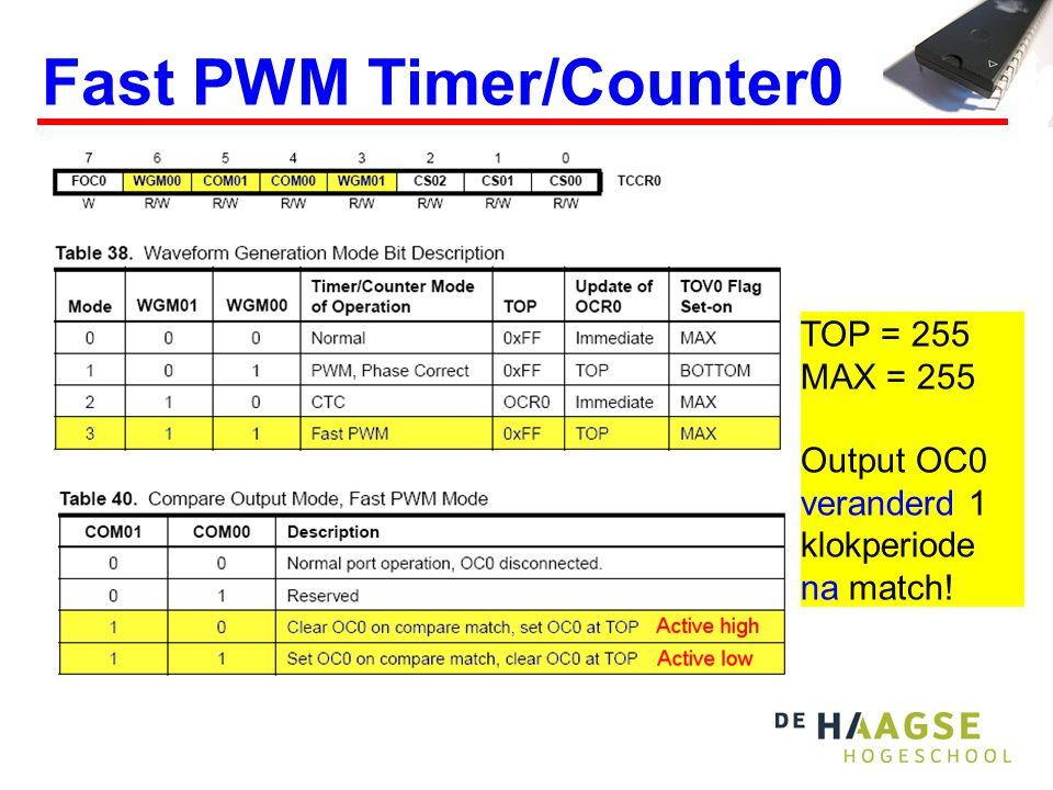 TCNT 3 t Fast PWM 2 bits Active high OCR=0 OCR=1 OCR=2 =TOV=OCF OCR=3 Dit is een simpel voorbeeld, T/C0 heeft 8 bits 01230123012